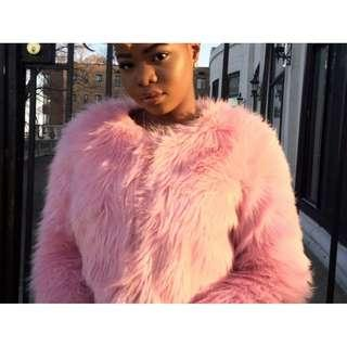 (Final price) Neon(hot) pink crop faux fur jacket