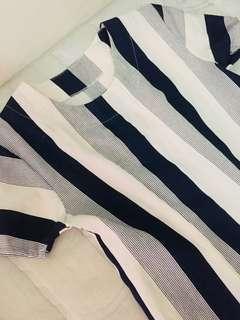 Navy blue stripes w/side pockets dress