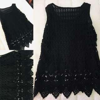 Black velvet lace sleeveless top