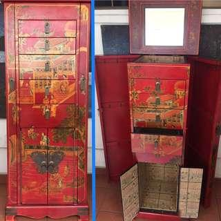 🚚 Jewellery Cabinet Oriental Lacquer Rouge -Free Delivery!