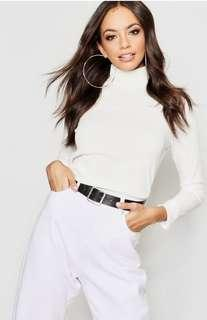 White Ribbed Knit Top
