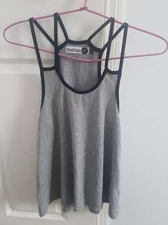 Grey & black boohoo fit tank top with double straps