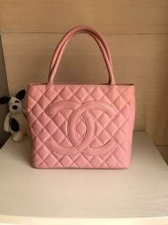 Chanel 櫻花粉荔枝紋魚子醬手提肩背包