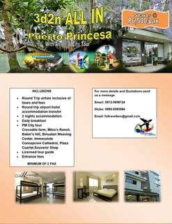 3d2n all in PUERTO PRINCESA package with Airfare