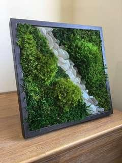 3D Moss Wall ~ Decor Real Preserved Moss Art Sea Glass Leaning Shards