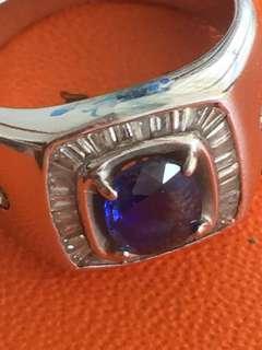Natural Blue Sapphire 18k WG Men Ring 7.69g / US7.5 EU56 18mm