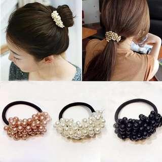 Beads hair ties. Black, Peach and White available. #dressforsuccess30