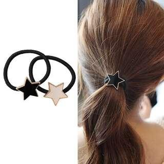 Star hair ties. Black and White available. #dressforsuccess30