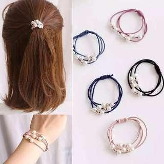 Elastic hair ties with white pearl beads. Black, Blue and Pink available. #dressforsuccess30