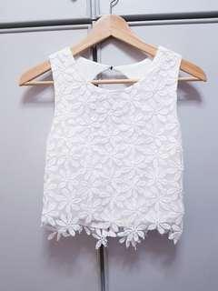 White Crop Top floral lace FOREVER NEW