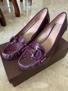 Purple Patent Leather Moccasin Pumps