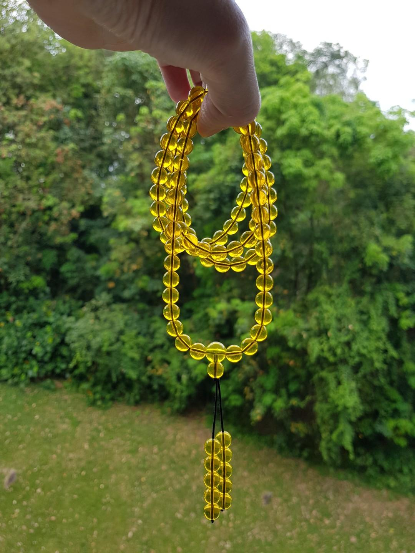 天然墨西哥蓝珀108粒项链/三圈手链 8mm Natural Blue Amber necklace / 3 rounds bracelet (附带AIJC美国国际珠宝鉴定证书 with jewelry appraisal certificate)