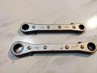 2pcs Ratcheting wrench- English system