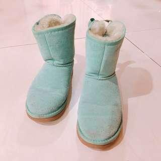 🚚 花㊕熊妞-二手鞋 Victoria's Secret PINK狗標誌 雪靴 湖水綠 Tiffany 出清