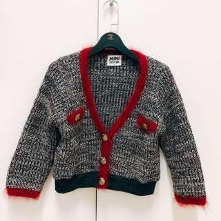 🚚 花特熊妞-二手美衣:小香風 正韓 針織兔毛邊 七分袖 短版外套