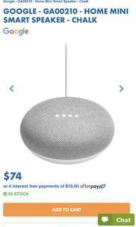 google mini home speaker in chalk/gray
