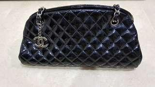 Chanel black quilted patent cruise bowling bag (just mademoiselle)