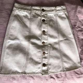 Cotton On White A Line Button Down Skirt