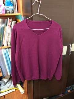 🚚 紫色 紫紅葡萄 薄細針織 春秋裝