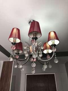 Chandelier Light red silver hanging ceiling