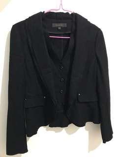 🚚 黑色小外套/隱藏鈕扣