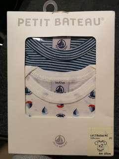 全新 法國名牌PETIT BATEAU 6m短袖夾衣2件