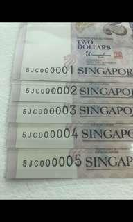 🚚 Serial number 000001 $2 note - run of 10 notes