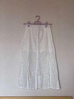 [全新 未剪牌] 白色蕾絲中長裙 排扣 渡假風 女神仙氣 Air Space Lace Mid length skirt