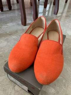 Orange Tweed Loafers
