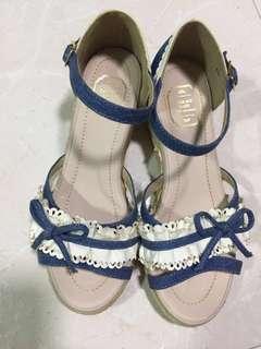 Blue Sandal wedges heel