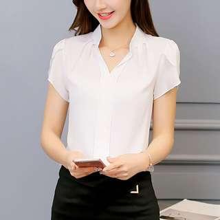 White Office Blouse Shirt non-sheer light colour cotton top