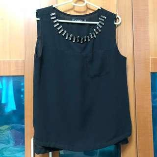 🚚 Black Chiffon Top with bling embellishments