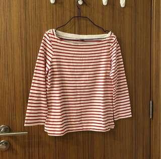 Uniqlo red & white striped long-sleeved top