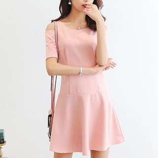 Korean office dress pastel pink baby blue