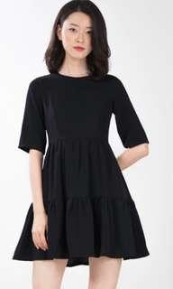 BN ninth collective Malika tiered dress in black