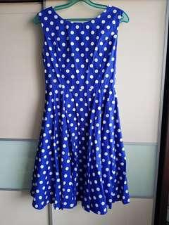 🚚 Blue Polka Dot Dress