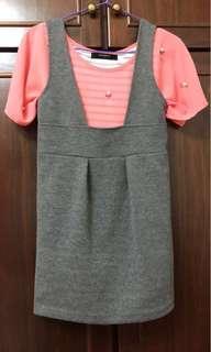 🚚 顯瘦灰色棉質吊帶裙L