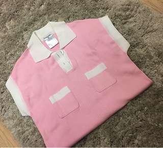 🚚 Chanel  粉白配色針織衫