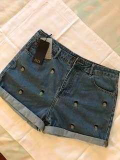 SEED Denim Shorts with Pineapple design