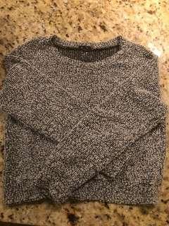 Fuzzy Cropped Salt & Pepper Sweater