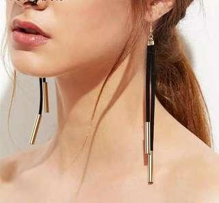 🚚 Suede leather copper long dangle earrings. Gold and Silver available. #dressforsuccess30