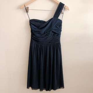 Dotti midnight blue toga dress
