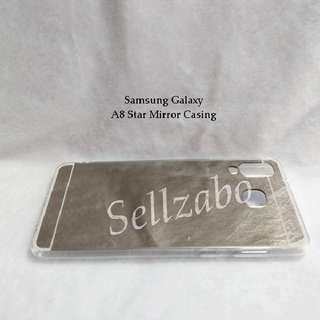 New A8 Star Mirror Back Casings : Samsung Galaxy  Hp Handphone Holder Case Silver Colour Soft TPU A8Star