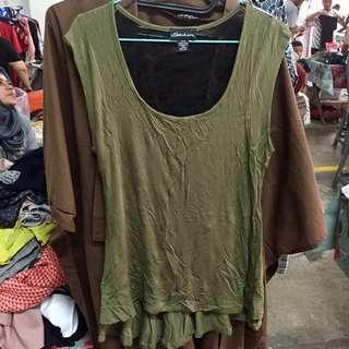 Army Green Blouse with Brukat