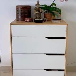 Chest of 4 Drawers (Solid Birch Wood & Acrylic Lacquer)