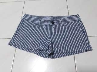 Blue with white stripes design in low waist short.