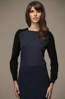 BN Misebla Navy Blue Blouse with Black Sleeve