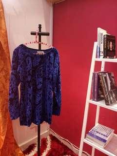 Electric Blue Velvet Blouse