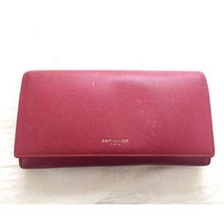 Saint Laurent red long wallet YSL