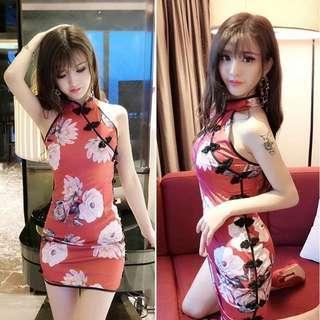 🚚 🔥快速出貨🔥小性感旗袍 短袖旗袍 小洋裝 短旗袍 復古風